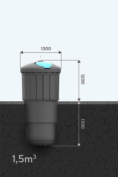 Pojemnik pół-podziemny 1,5m Ekosort