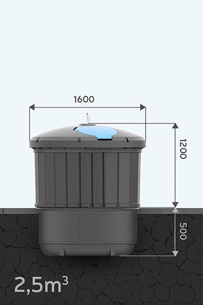 Pojemnik pół-podziemny 2,5m Ekosort